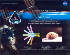 Ian Miller was recognized by NASA Glenn Research Center for his significant contribution to the development and completion of the Integrated Medical Model's initial Renal Stone Module.