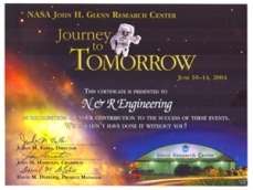 """N&R Engineering was presented the """"Journey of Tomorrow"""" award by NASA Glenn Research Center for their contribution to the advancement of events in 2000-2004."""