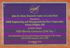 """N&R Engineering was granted the award for """"FYOR Minority Contractor of the Year"""" from NASA Glenn Research Center for their exceptional work since 2000."""